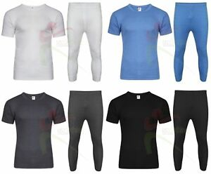 2f1bcdc2301b Mens Thermal SHORT SLEEVE T-SHIRT Vest Top & Long John Bottoms SET ...
