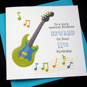 Image Is Loading Handmade Personalised Music Guitar Theme Birthday Card Son