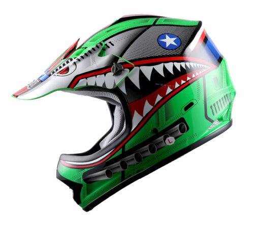 Youth DOT Motocross Helmet Motocycle ATV MX BMX Bike Kids Shark Green