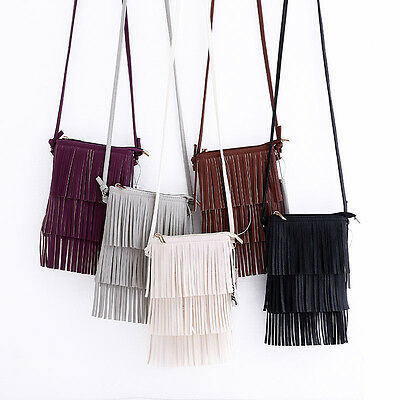 Fashion Women Fringe Tassel Shoulder Bags PU Leather Messenger Crossbody Bags