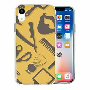 For-Apple-iPhone-XR-Silicone-Case-Hipster-Barber-Grooming-S1163