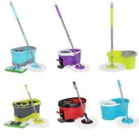 360° Rolling Magic Spin Mop Bucket Set Rotating Floor W/ 2 Microfiber Heads R8s0