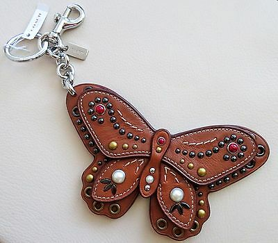 New Coach Studded Butterfly Bag Charm Silver/Saddle F58996