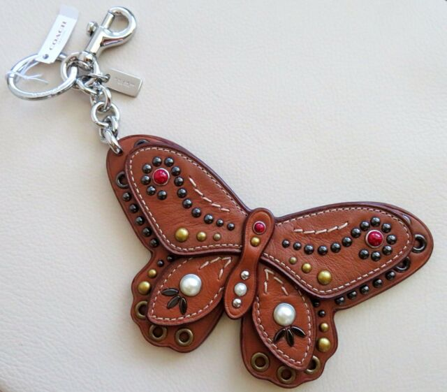 Coach Large Butterfly Applique Embellished Studded Keychain Bag Charm F58996 NWT