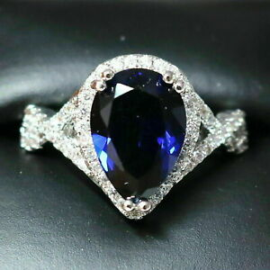 Sparkling-Pear-Blue-Sapphire-Ring-Women-Engagement-Jewelry-14K-White-Gold-Plated