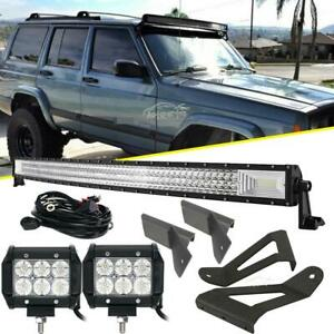 Details About For Jeep Cherokee Xj 50 Curved Led Light Bar 4 18w Mounting Bracket Tri Row