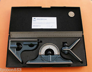 COMBINATION SET MOORE & WRIGHT CAST IRON SQUARE PROTRACTOR CTR FINDER