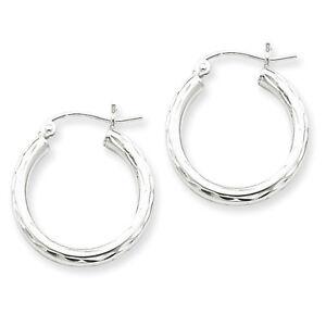 925-Sterling-Silver-Rhodium-Plated-2-5mm-x-20mm-Diamond-cut-Hoop-Earrings