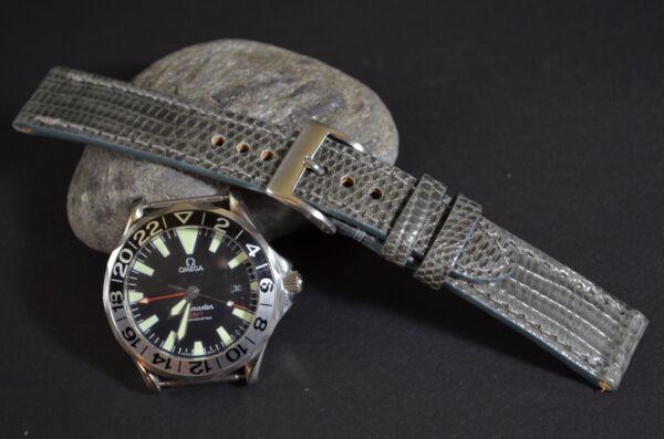 Uhrenarmband 22 20 18mm Echt Genuine Echse Grey Grau Ma Strap Band Mit Schliesse