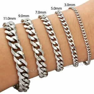 3-5-7-9-11-mm-Mens-Chain-Curb-Link-Silver-Tone-Stainless-Steel-Bracelet-7-034-11-034