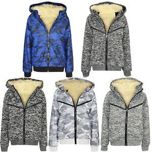 Boys-Kids-V-Full-Inside-Fur-Fleece-Bomber-Hooded-Jacket-Coat-Zip-Hoodie-Sweat