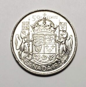 Canada-1946-Design-Hoof-In-6-Variety-Silver-50-Cents-Half-Dollar-Coin
