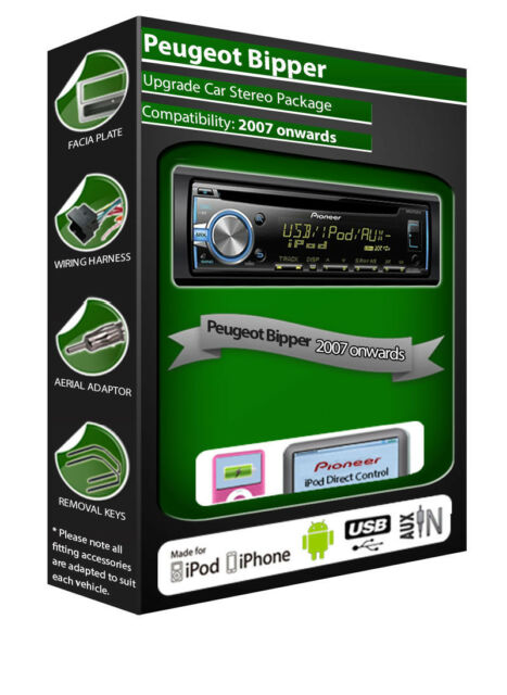 Peugeot Bipper CD player, Pioneer headunit plays iPod iPhone Android USB AUX