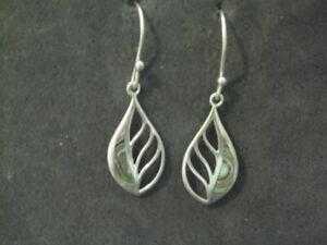 Sterling Silver 925 Teardrop Abalone Drop Earrings