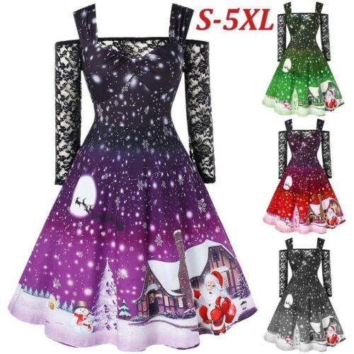 Women Cold Shoulder Lace T Shirt Patchwork Christmas Print Vintage Party Dress