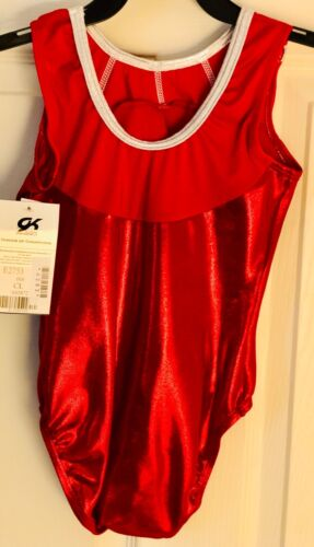 NASTIA LIUKIN FIRECRACKER CHILD LARGE RED FOIL GK GYMNASTIC TANK LEOTARD CL NWT!