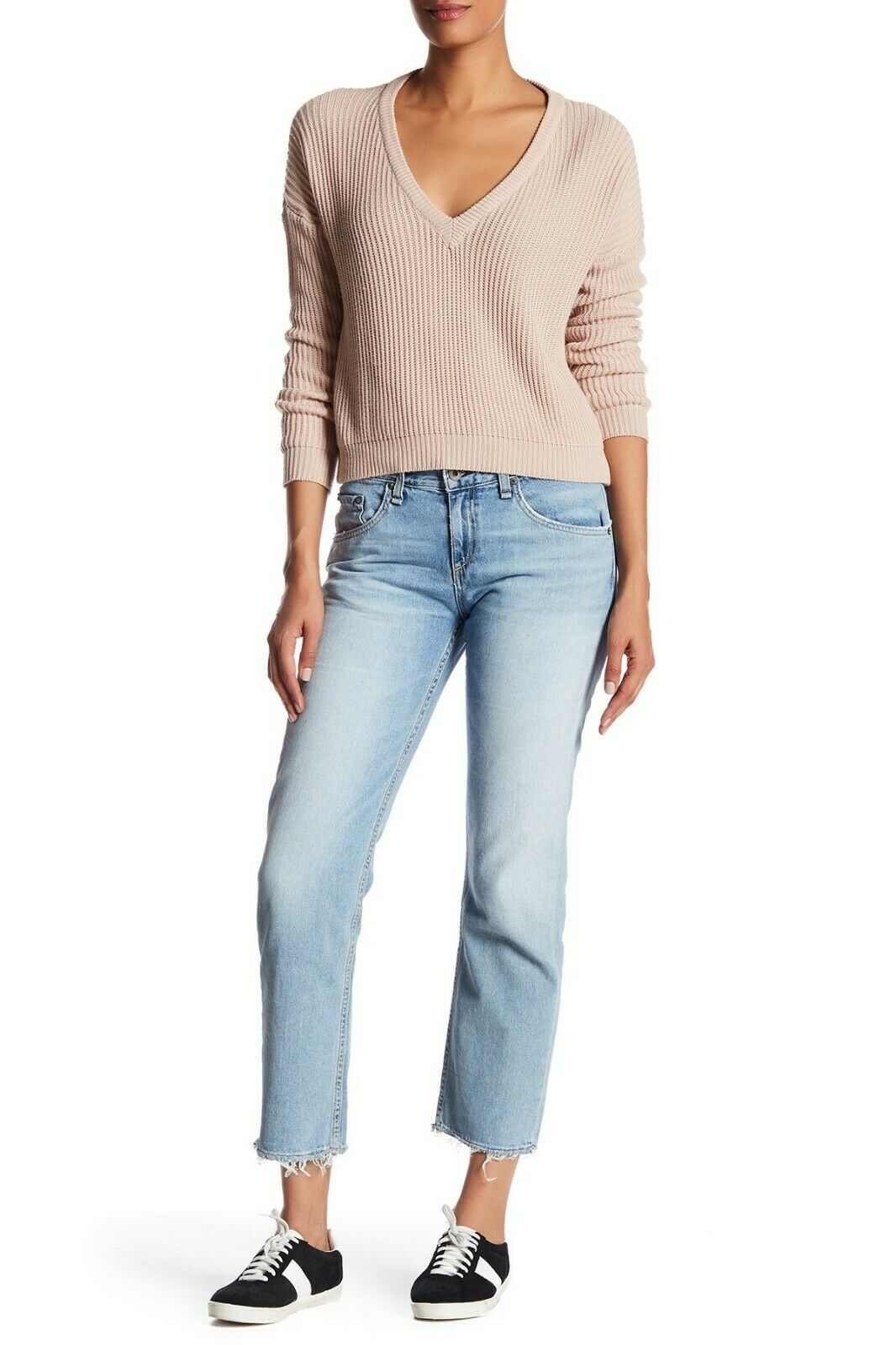 250 Rag & Bone JEAN X Boyfriend Relaxed Fit Jeans with Raw Hem in Chaucer - 29