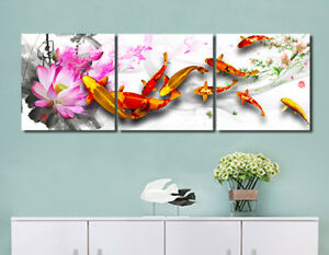 Image Is Loading Framed Koi Fish Lotus Flower Photo Print Painting
