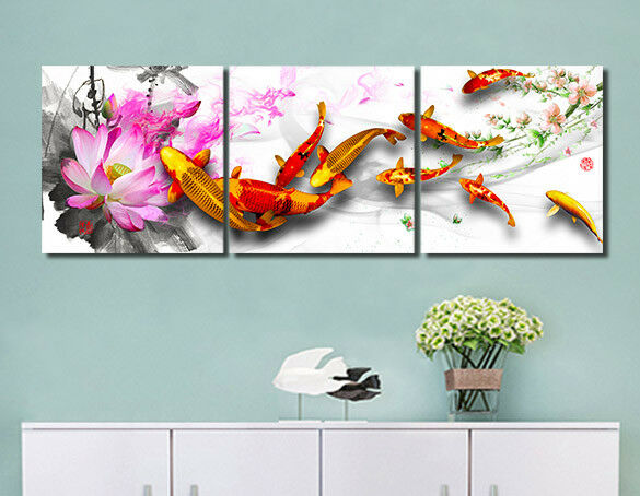 Framed Koi Fish Lotus Flower Photo Print Painting Canvas Abstract Art Wall Decor Ebay