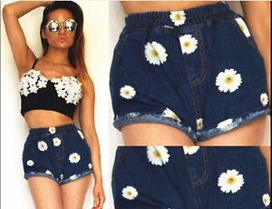 Damen Denim Shorts Zerstört Party Hotpants Hohe Taille Quasten Reihen Jeans