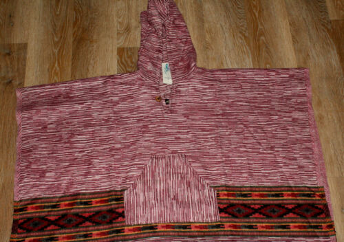 carboncino kaki Hippy mullti Maroon Blanket Colors Jacket Festival Poncho 6xYwUq5XW