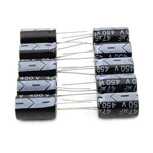 10x-450V-47UF-47-F-Elko-Kondensator-Radial-105-C-Electrolytic-Capacitor-16x25mm