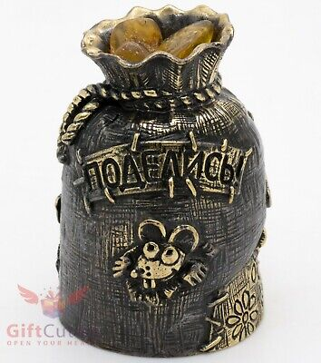 Brass Amber Figurine bell of mouse money sack rat symbol 2020 New Year IronWork