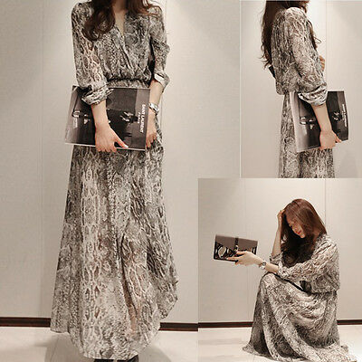 Hot Women Snake Floral Chiffon Cocktail Party Evening Casual Long Maxi Dress