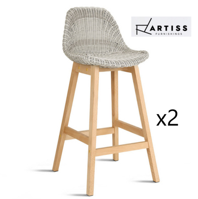 Artiss 2x Vera Outdoor Rattan Bar Stool Pe Wicker Barstools Chair