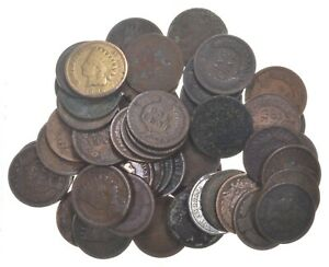 50-1890-1909-Era-Indian-Head-Cents-Penny-Lot-Collection-US-Coin-Roll