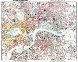 London Poverty Map 1889 London England Large Format Wall Map by