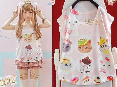 Kawaii Cute Colorful Lolita Cartoon Fantasy Candy Cat Barbie Short Sleeve Shirt