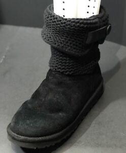 ugg shaina black suede sheepskin knit cuff ankle boots size us 8 uk rh ebay com