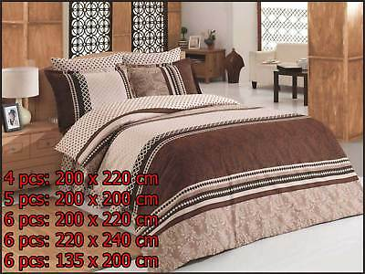 100% Cotone Biancheria Da Letto Lenzuolo Cuscino Coperta Varianti Damask Marrone Smoothing Circulation And Stopping Pains