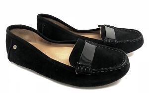 85bc09b41ab Details about Ugg Australia Adrien Black Loafer Slip On Suede Driving  Moccasin 1020125W Flat