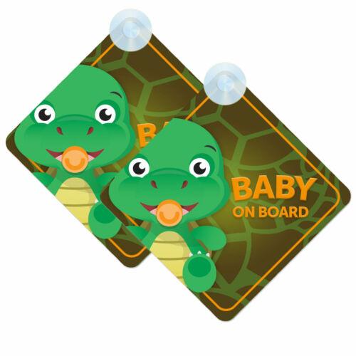 Bebé a bordo Twin Pack De Bebé Tortuga Lindo Diseño Coche signos 2 un. Niño//niña