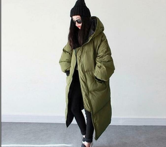Womens Oversize Casual Hood Loose Fit Overcoats Long Down Winter Parka Coat R315