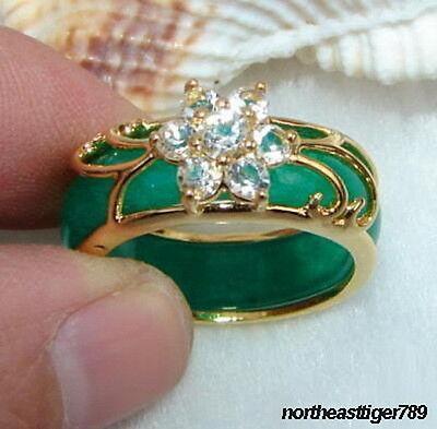 Green Jade 18KGP Crystal Flower Ring size: 6.7.8.9