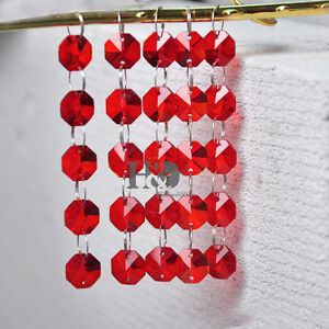5Pcs-2-Holes-Red-14MM-Octagon-Crystal-Beads-Chandelier-Lamp-Prism-Ornament
