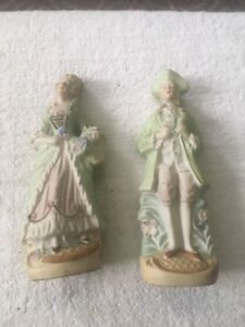 Occupied Japan Bisque Figurines Man And Woman Matched Pair 8 1 2 L K Ebay
