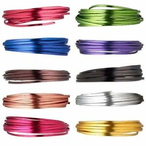 Flat-Anodized-Aluminum-Craft-Wire-Wrapping-Jewelry-Floral-Wrap-4mm-Color-18ft