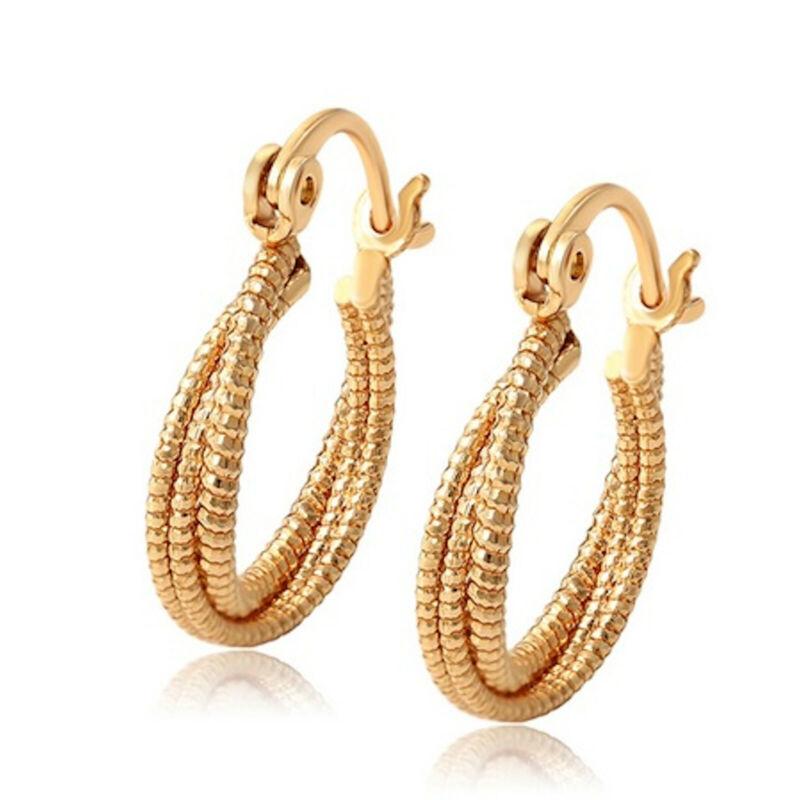 18ct Yellow Gold Filled 20mm Textured Twist Hoop Earrings Women's Gift Idea 234
