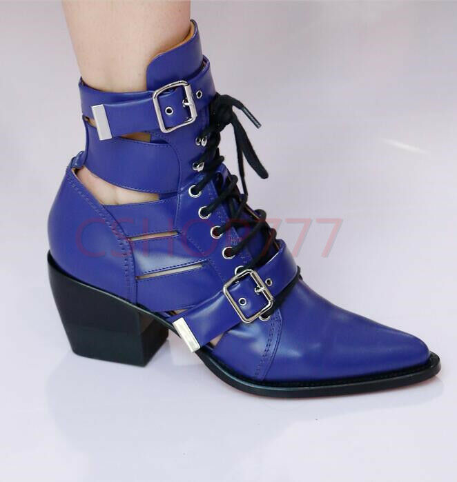 Sexy femmes Retro cut out pointy Toe ankle short Leather bottes cuban heels chaussures