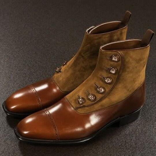 Men Latest Button Closure Fine Suede & & & Leather Stiefel, Stiefel de lujo para herren e15595