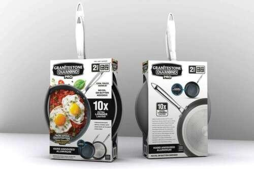 Granitestone Pro Hard Anodized Nonstick 2 Pack Fry Pan Set 10'' /& 11.5''