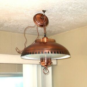 1960s-Early-American-Style-Copper-Glass-Hanging-Light-Fixture-Lamp