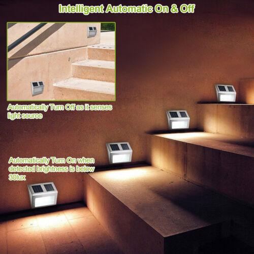 2//6//10 Solar LED Stainless Steel Garden Patio Step Stair Deck Lights Waterproof