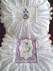 Purple- Dolls,Embroidered, Padded with Doll Motif, Bedding Set - cot/pram/bed.