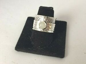 .925 STERLING SILVER PLATED WIDE CIGAR BAND MOONSTONE SPINNER RING SR719 SIZE 8