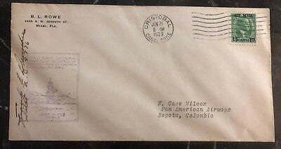 Briefmarken 100% Wahr 1929 Cristobal Kanal Zone Erstflug Abdeckung Ffc Zu Bogota Colombia Handsigniert